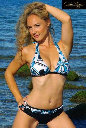 Sun Projekt Neckholder Bikini blau/schwarz/weiss