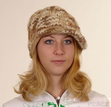 Capo Damen Wollmütze Handgestrickt Braun