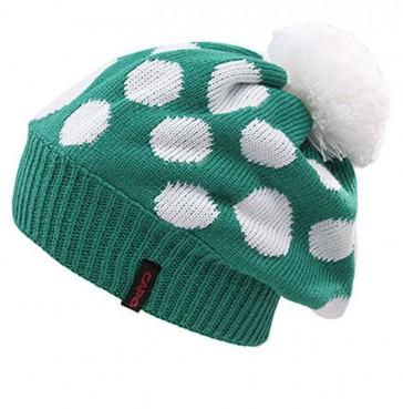 Capo Damen Strickmütze grün mit Punkten