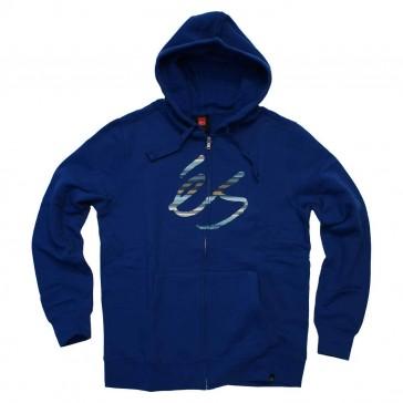 ES blaue Sweat Jacke mit Logo und Kaputze