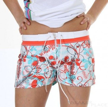 F2 Damenbadeshort Leaves Hot Shorts Acqua