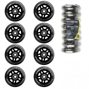 Die Abbildung zeigt Rollerblade 80 mm Rollen Set. Die 84mm Rollen sind farblich fast identisch.