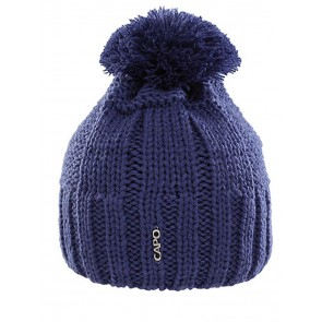 Capo Beanie-Strickmütze Blau mit Bommel