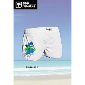 Sun Project Badehose Damen weiß mit blauer Blume