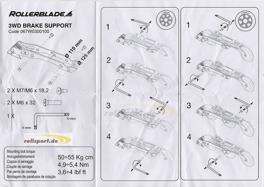 Rollerlbade 3WD Bremssystem 125mm Montageanleitung