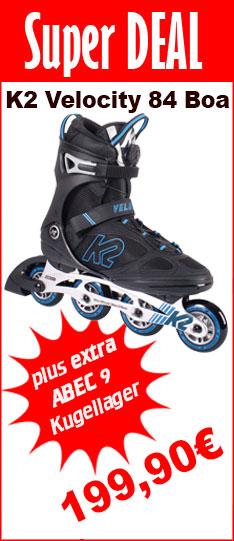 Super Deal K2 Velocity 84 Boa schwarz blau + Abec 9 Kugellager - nur bis  01.07.2020 - 24:00 Uhr