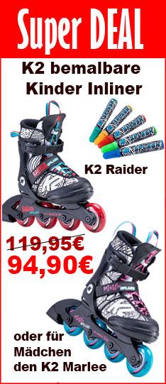 Super Deal K2 Splash - bemalbare Kinder Inline Skates - nur bis  30.05.2020 - 24:00 Uhr